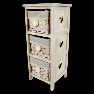 3 Wicker Basket Bedside Cabinet - Heart Handles