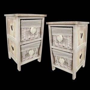 2 Wicker Basket Bedside Cabinet Heart Handles - PAIR