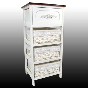 White 1 Drawer, 3 Basket Chest Polished Top