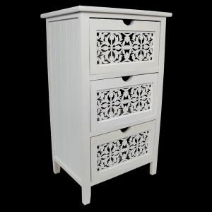 White Chest of 3 Drawers Fret Design
