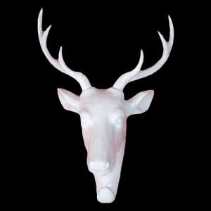 Deer Stag Head Wall Coat Hook - White