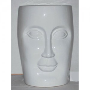 Ceramic Face Stool Garden Seat white
