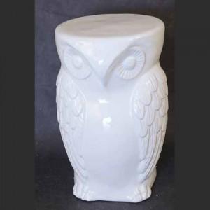 Ceramic Owl Stool Garden Seat White