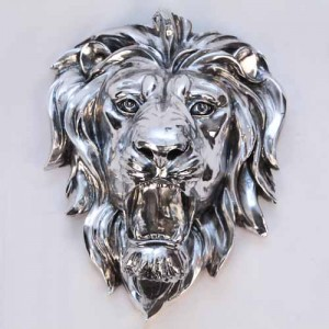 Electroplated Lion Head Wall Hanging - 47cm