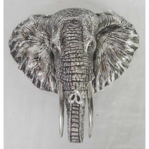 Electroplated Elephant Head Wall Hanging - 25cm