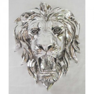 Electroplated Lion Head Wall Hanging - 25cm