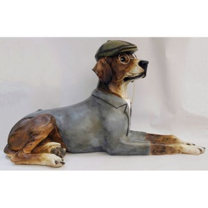 Dog Lying Down Large Resin Pointer/Hound Figure 66cm