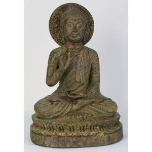 Thai Buddha Resin Roman Stone Finish 36cm
