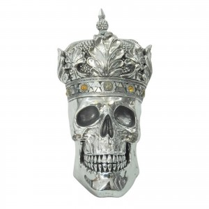 Electroplated Queen Skull With Crown 36cm