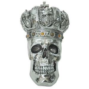 Electroplated King Skull With Crown 37cm