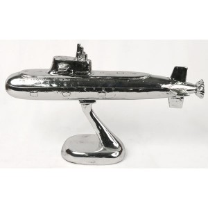 Electroplated Resin Submarine 34cm Boat Maritime Sculpture