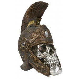 Electroplated Resin Skull With Roman Helmet Skeleton Head 33cm