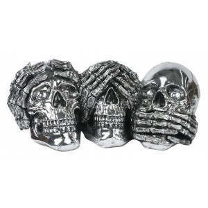 Electroplated Resin Skulls - See, Hear, Speak No Evil Sculpture