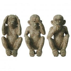 Set of 3 Resin Monkeys - See, Hear, Speak No Evil Figures