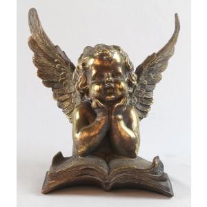 Cherub with Book Antique Gold Finish Resin Sculpture