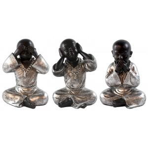 Set Of 3 Sitting Monks - See No Evil, Hear No Evil, Speak No Evil -  Resin Sculpture