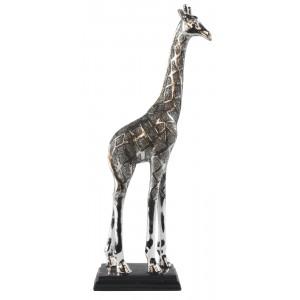 Silver Finish Giraffe Resin Sculpture