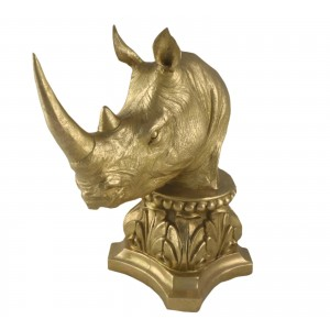 Rhino Bust 36cm - Gold Finish
