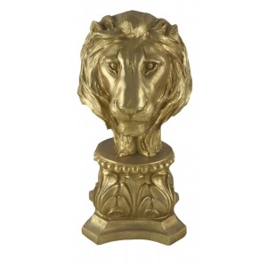 Lion Head Bust 36cm - Gold Finish