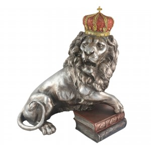 Lion With Crown 43cm - Silver Finish