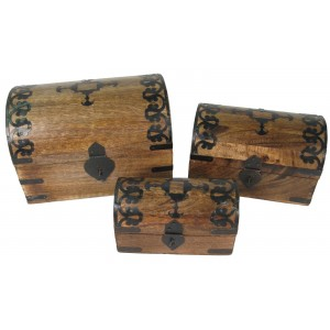 Mango Wood Ornate Metal Design Domed Trinket Boxes - Set/3