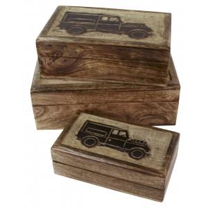Mango Wood Jeep 4x4 Car Design Trinket Jewellery Boxes - Set/3