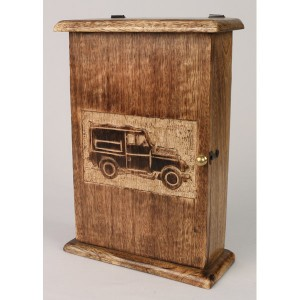 Mango Wood Key Box Jeep 4x4 Design (Side View)