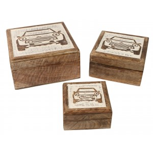 Mango Wood Car Design Square Trinket Jewellery Boxes - Set/3