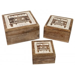 Mango Wood Jeep 4x4 Car Design Square Trinket Jewellery Boxes