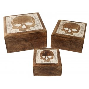 Mango Wood Skull Design Trinket Jewellery Boxes - Set/3