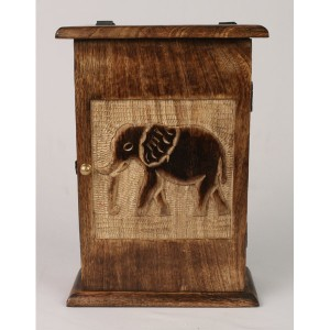 Mango Wood Key Box Elephant Design