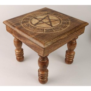 Mango Wood Star Design Plant Stand Stool