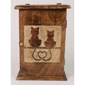 Mango Wood Key Box Cat Design