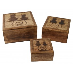 Mango Wood Cat Design Square Trinket Jewellery Boxes - Set/3