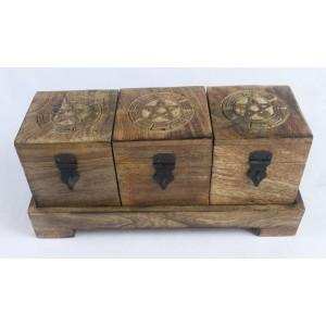 Set Of 3 Pentagram Design Boxes On Stand