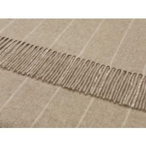 Pinstripe - Stripe - Merino Lambswool - Beige Throw