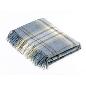 Shetland Aqua - Check - Pure New Wool - Aysgarth Aqua Throw