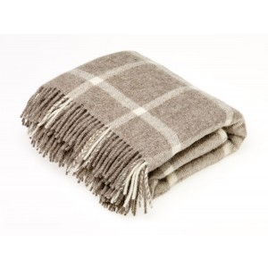 Natural Collection Check - Check - Pure New Wool - Windowpane Beige Throw