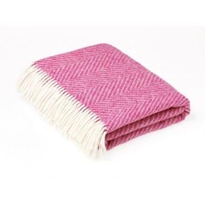 Shetland Herringbone - Plain - Pure New Wool - Cerise Pink Throw