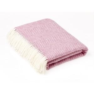 Shetland Herringbone - Plain - Pure New Wool - Pink Throw