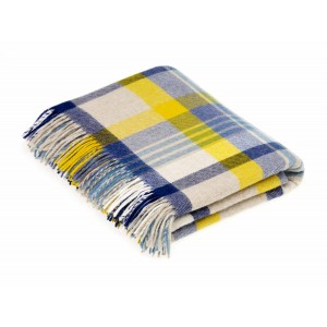 Blue & Yellow - Melbourne - Lambswool - Blue/Yellow Throw