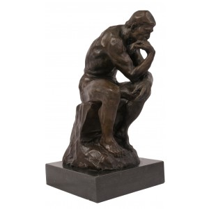 Hot Cast Bronze The Thinker Sculpture On Marble Base 29.5cm