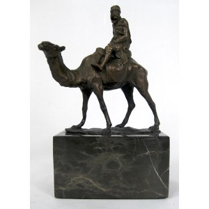 Camel & Figure Hot Cast Bronze Sculpture On Marble Base 21cm