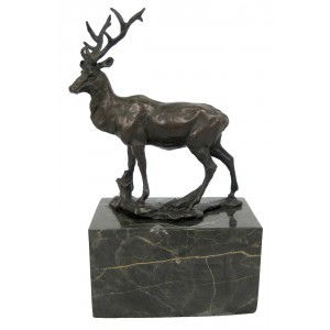 Hot Cast Bronze Stag Sculpture On Marble Base 22.5cm