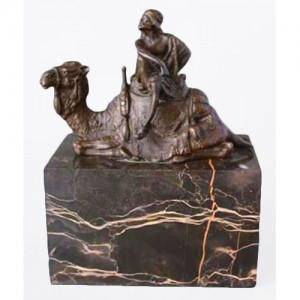Camel & Figure Hot Cast Bronze Sculpture On Marble Base 15cm
