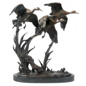 Geese Taking Off Bronze Sculpture On Marble Base 46.8cm