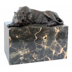 Hot Cast Bronze Tiger Sculpture On Marble Base 12.5cm
