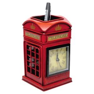 Telephone Box Pen Holder & Clock