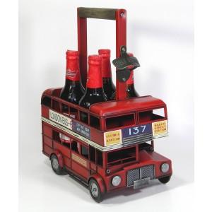 Red Double Decker Bus Bottle Carrier