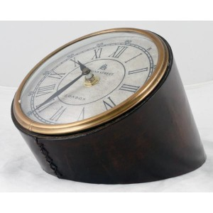 Table Clock Leather Finish 14cm